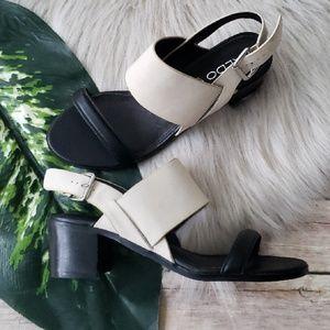 Aldo Leather Black & White 2 Strap Heels